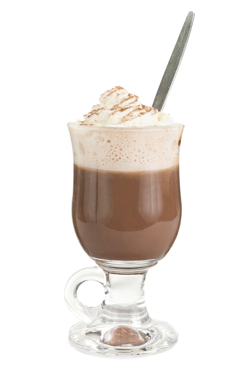 Hot chocolate whith cream over white