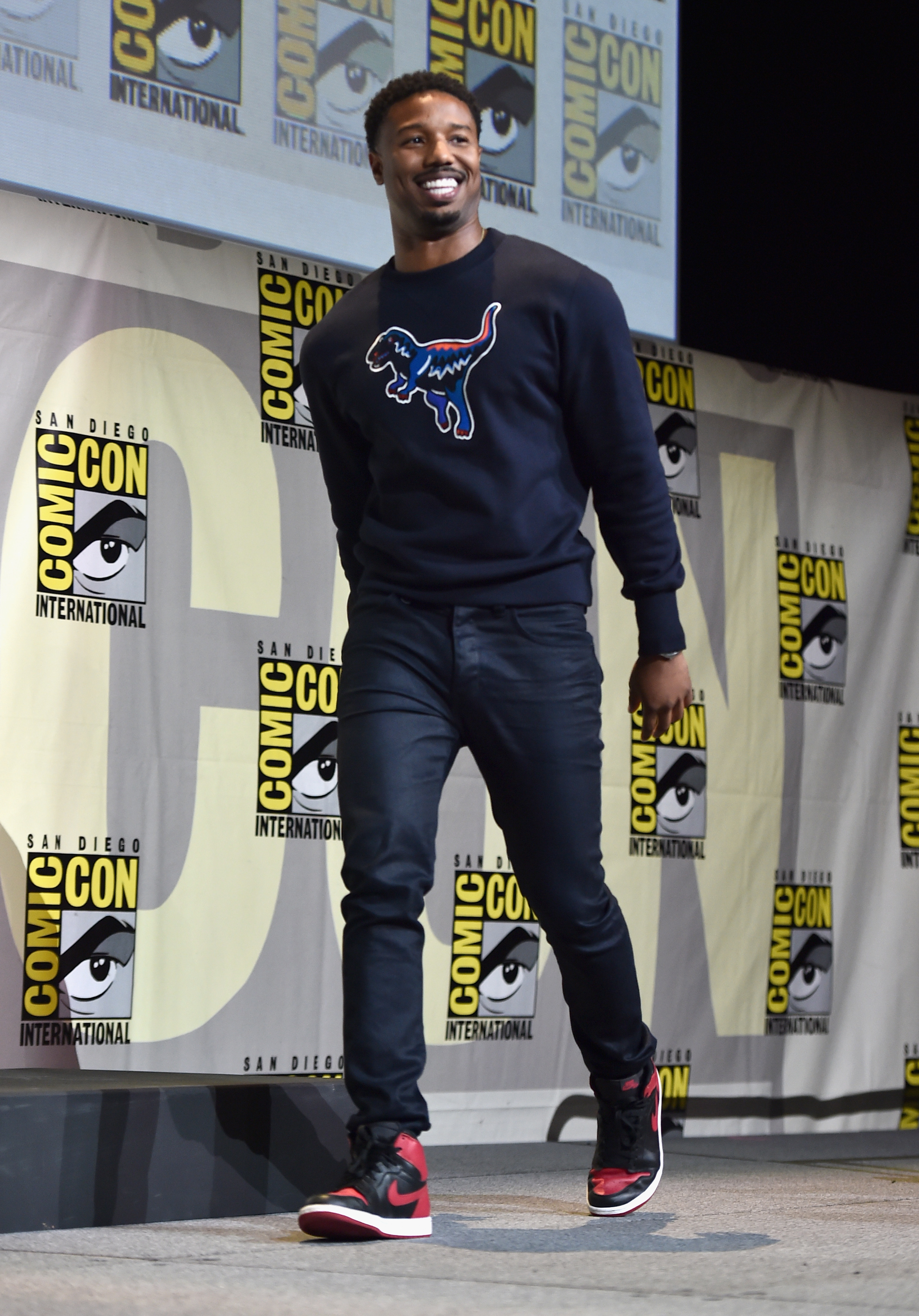 "SAN DIEGO, CA - JULY 23: Actor Michael B. Jordan from Marvel Studios' ""Black Panther"" attends the San Diego Comic-Con International 2016 Marvel Panel in Hall H on July 23, 2016 in San Diego, California. ©Marvel Studios 2016 (Photo by Alberto E. Rodriguez/Getty Images for Disney)"
